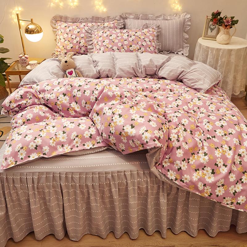 网红款全棉四件套纯棉韩版公主风单双人被套床裙床单床上用品