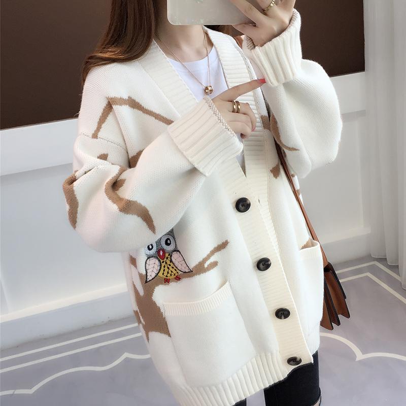 2018新款针织衫开衫秋装宽松中长款韩版学生刺绣慵懒风毛衣女外套