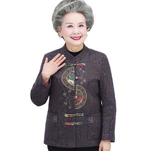 中老年人奶奶装秋冬外套女70岁老人衣服棉袄加绒加厚妈妈加绒套装