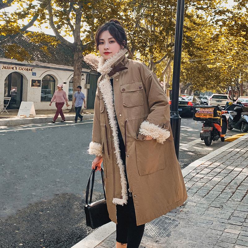 冬季羽绒棉服女加绒加厚棉袄羊羔毛韩版宽松中长款时尚棉衣外套潮