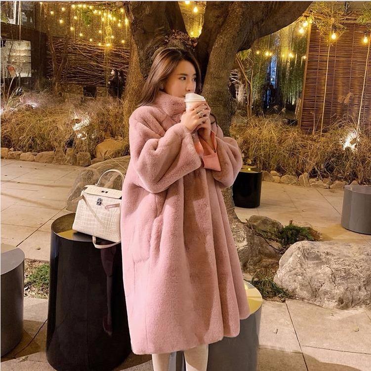 2020冬季新款仿皮草水貂绒毛毛绒长款大衣立领过膝加厚宽松女外套