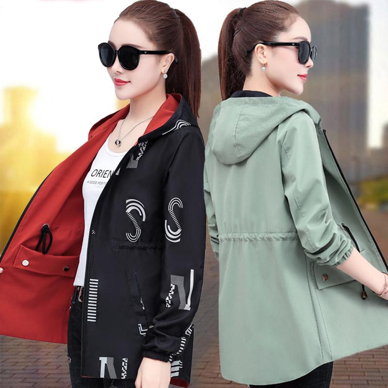 双面穿中长款外套女2021新款秋装百搭韩版宽松秋季两面穿夹克上衣