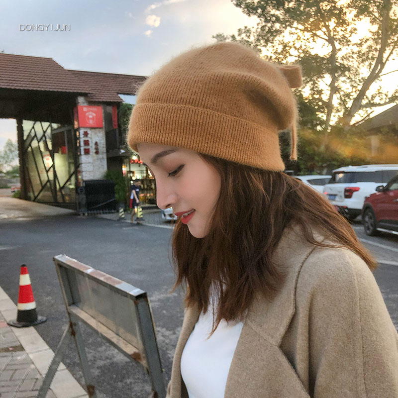 大头围帽子秋冬女士韩版保暖兔毛针织毛线帽日系蝴蝶结卷边套头帽