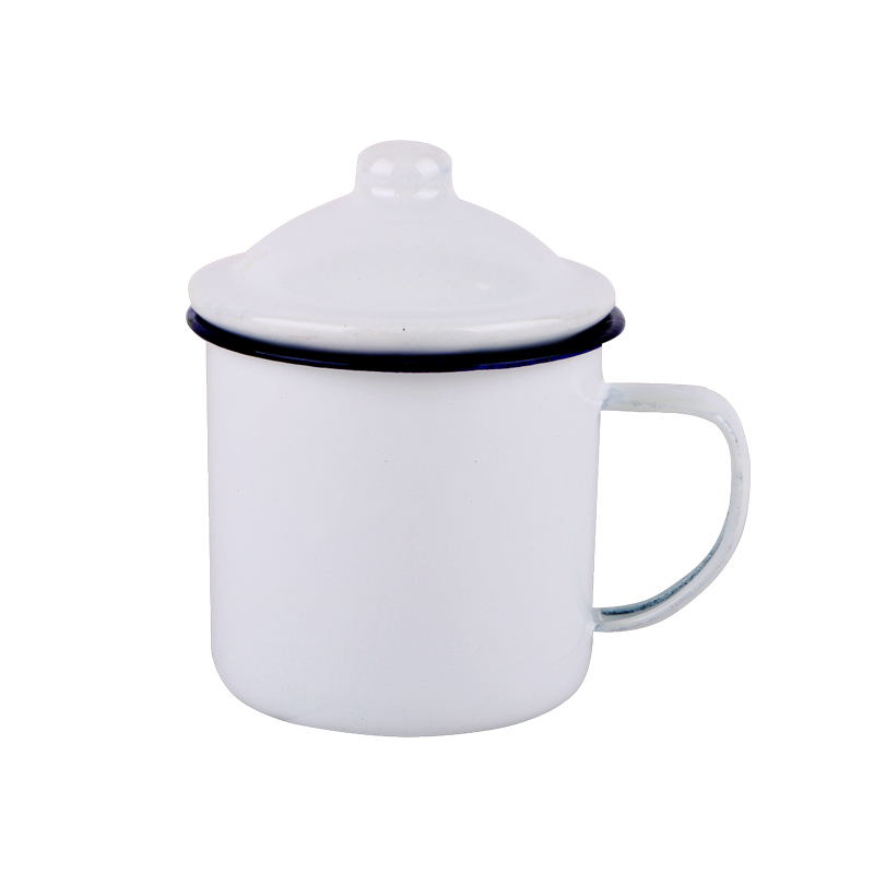 Special old nostalgic enamel tea urn make tea cup white enamel cup tea cups with cover iron ChaGangZi enamel cup