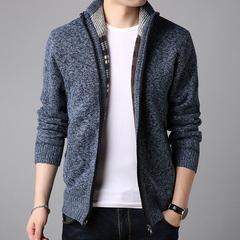 梵客隆秋冬季毛衣外套男士纯色开衫韩版修身立领针织衫夹克外套潮