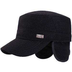中老年帽子男毛呢秋天冬季保暖爸爸保暖护耳老人爷爷帽老头平顶帽