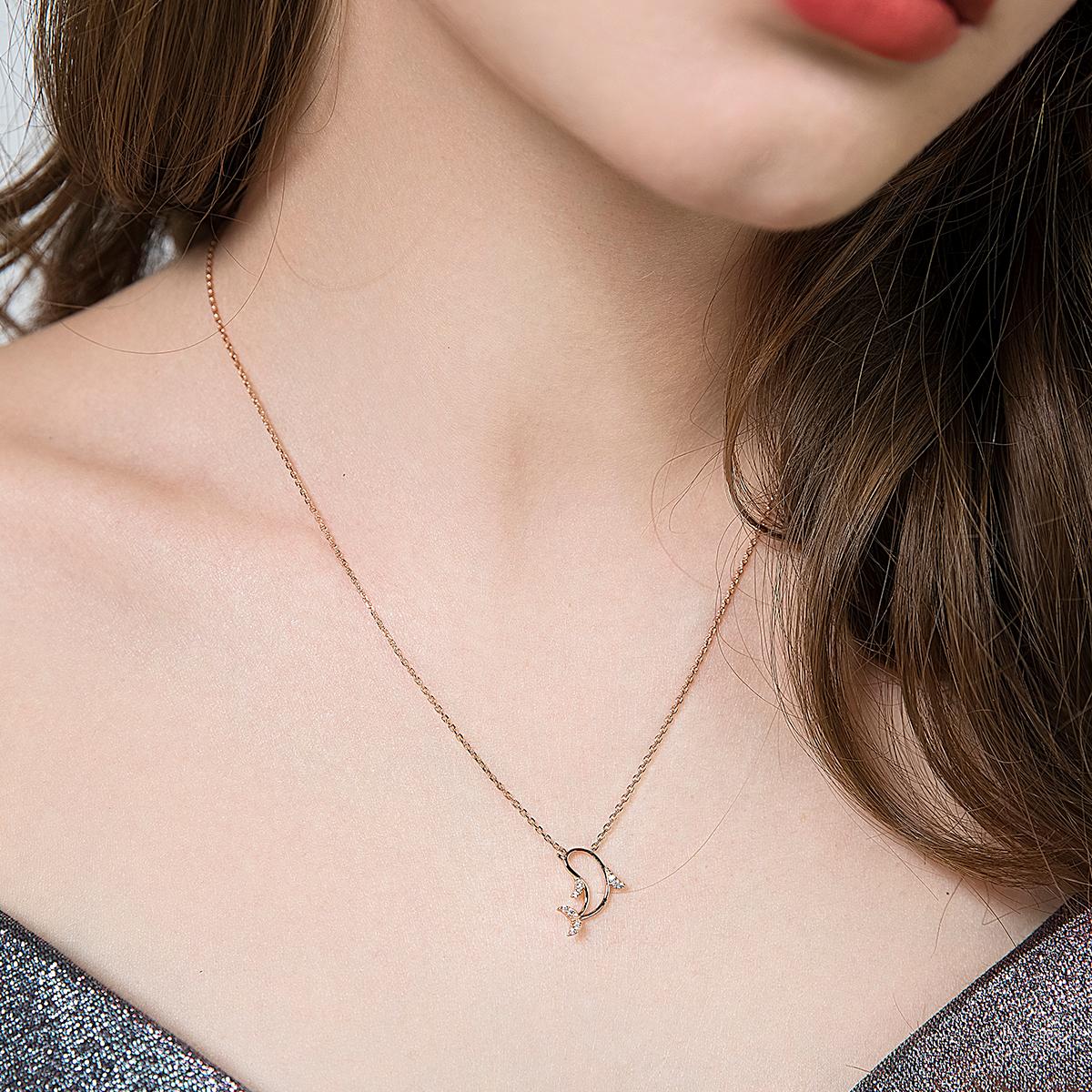 HIBI海豚锁骨链情人节礼物送女友镶施华洛世奇锆纯银不褪色项链女