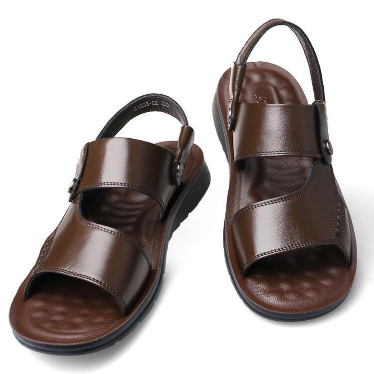 【真皮防滑】夏季男士两穿凉拖鞋