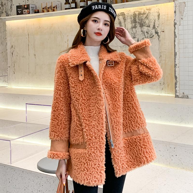 韩版宽松显瘦版型,新款羊剪绒大衣女真皮草羊羔毛一体外套