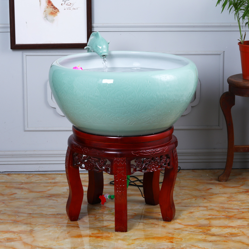 Sitting room feng shui and oxygen tank in plutus super - large filter fish basin water Chinese penjing jingdezhen ceramic cycle