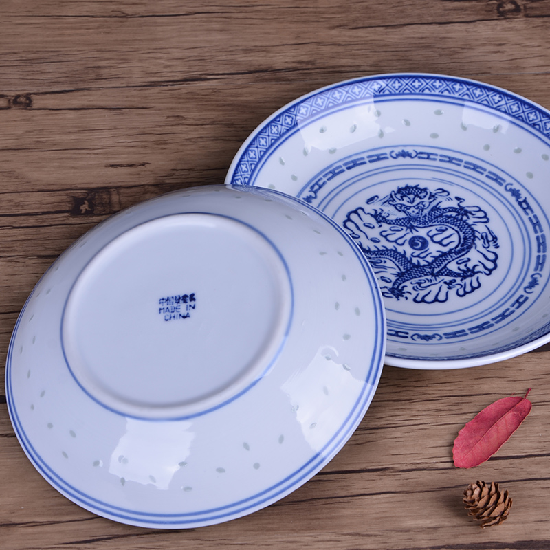 Jingdezhen ceramic traditional nostalgic see colour porcelain dish plate under glaze blue and white household soup thick Chinese style restoring ancient ways plate panlong lines