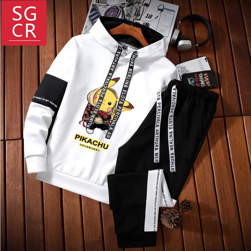 SGCR2020动漫卡通卫衣连帽卫衣套装春秋男士长袖新款潮流印花上衣