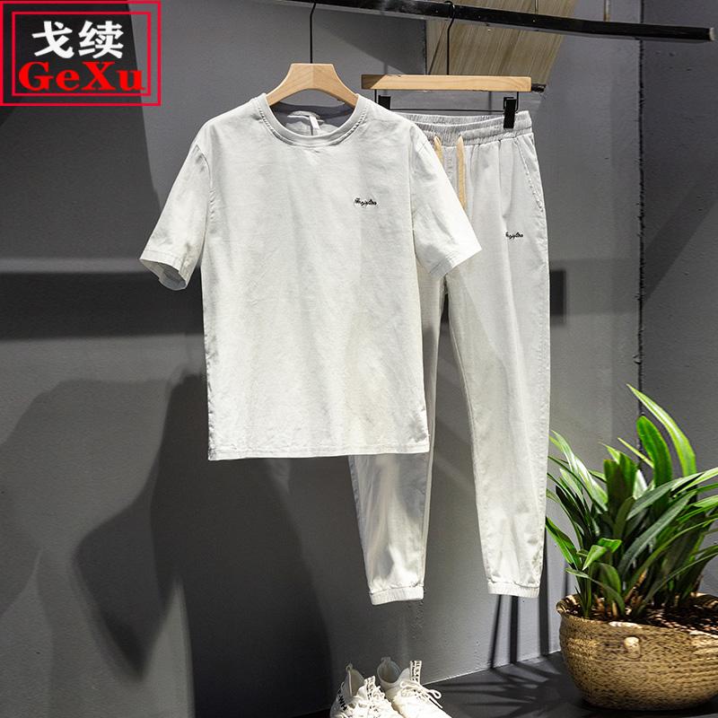 戈续休闲套装男夏季薄款运动两件套韩版潮流刺绣棉麻衣服男生夏装