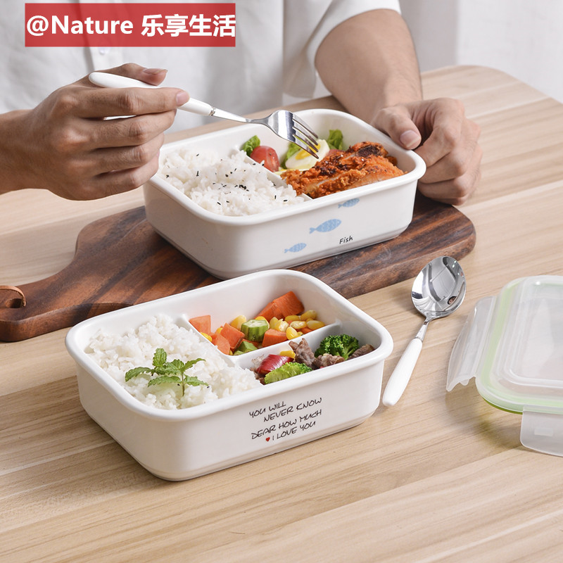 The Heat - resistant ceramic le buckle, all around lunch box, lunch box, lunch box 3 student fresh bowl with cover sealing box of microwave oven