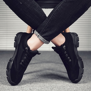 冬季透气休闲皮鞋百搭马丁靴男鞋
