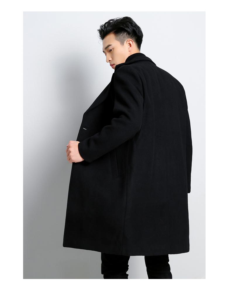 阿杜德花花公孑冬季毛呢大衣男青年韩版修身加厚英伦风呢子男外套