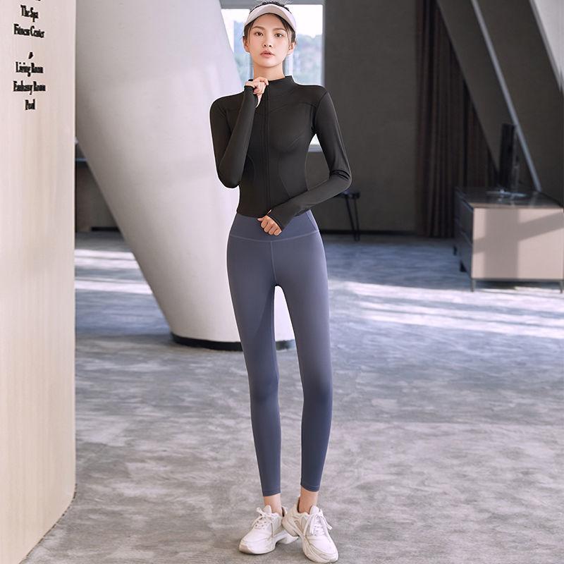健身女弹力紧身蜜桃臀瑜伽服套装速干跑步运动长裤高腰打底裤夏季