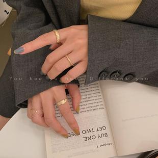 简约时尚哑光戒指个性冷淡风ins潮网红小众设计开口食指戒指环女