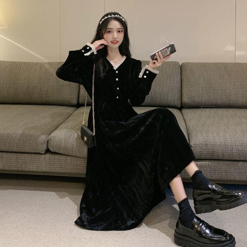 秋冬打底v领仙黑色长裙小黑裙