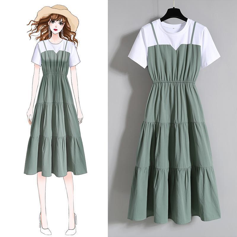 拼接假两件韩版短袖收腰显瘦200斤连衣裙
