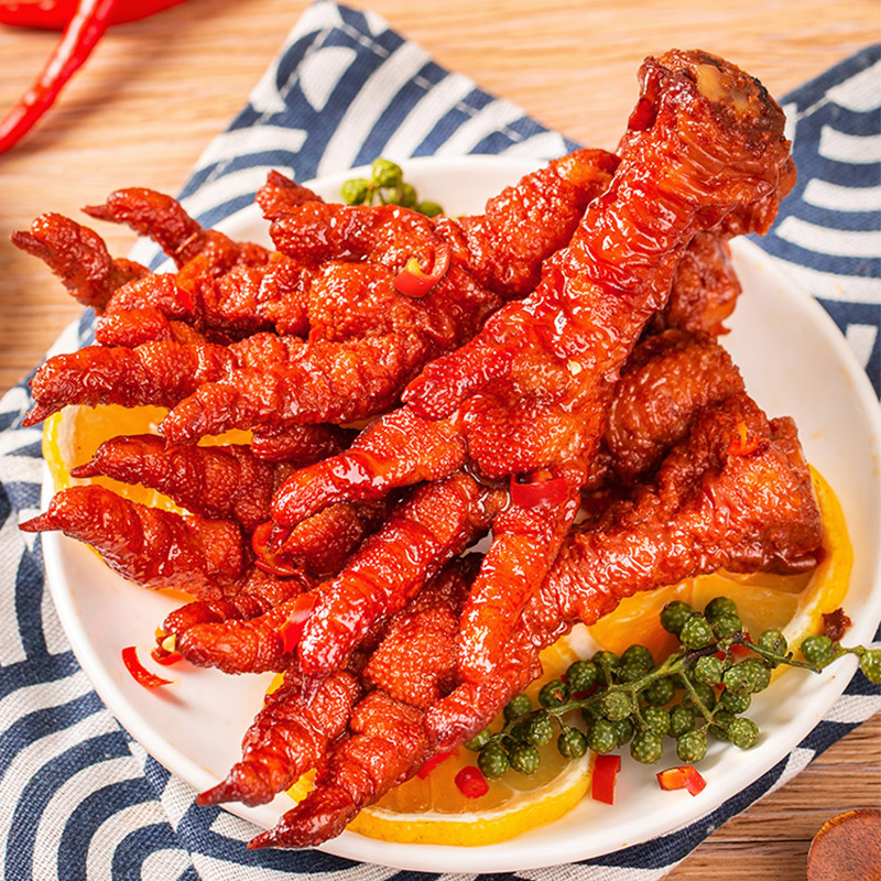 鲁小吉虎皮凤爪网红小吃休闲零食鸡爪子即食辣卤味熟食真空160g袋