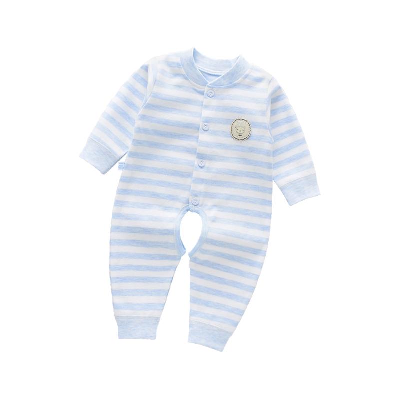 婴儿连体衣秋季厚款长袖新生儿哈衣爬服初生宝宝和尚服纯棉春冬装