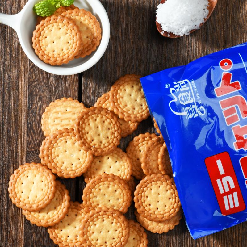 喜食尚日式小圆饼网红饼干海盐味红糖味休闲零食茶点小吃散装130g