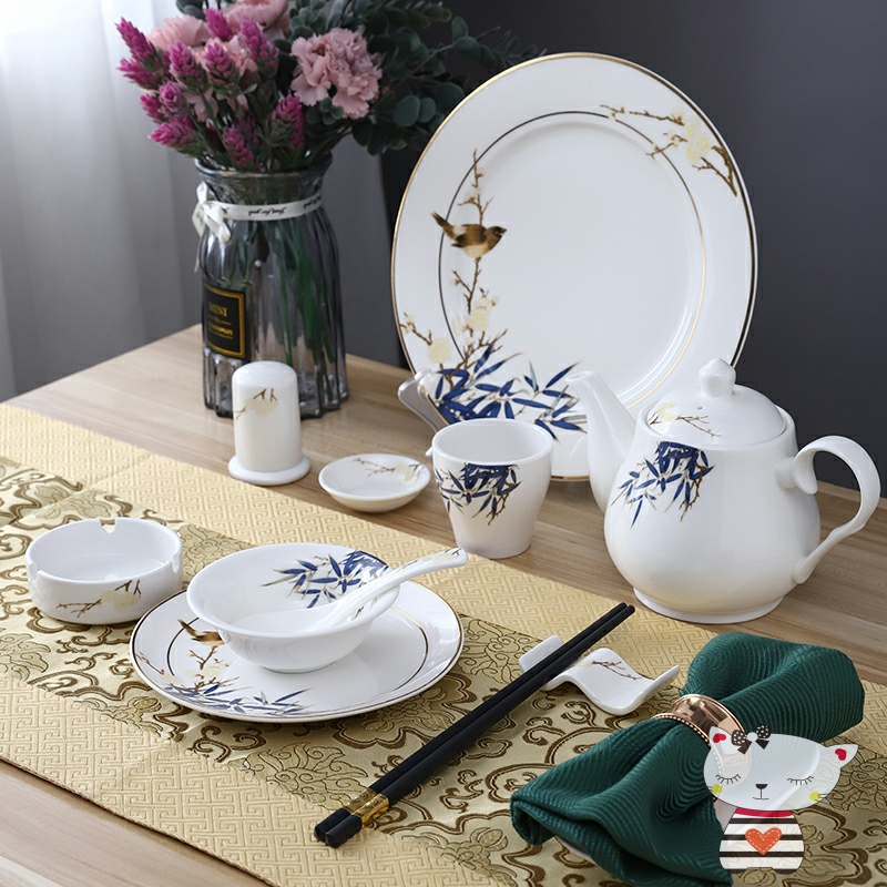 Degree of rocky article 4 times dinner table set ceramic dish dish spoon club Chinese ltd. custom meal restaurant
