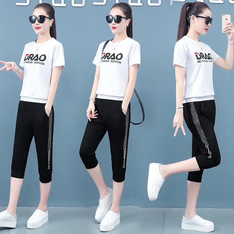 纯棉两件套女2020轻奢百搭夏季吸汗透气运动跑步时尚套装潮休闲款