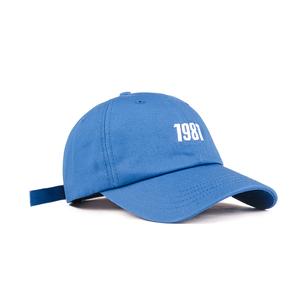 ins潮韩版时尚软顶棒球帽女春秋蓝色鸭舌帽男夏薄款刺绣1987帽子