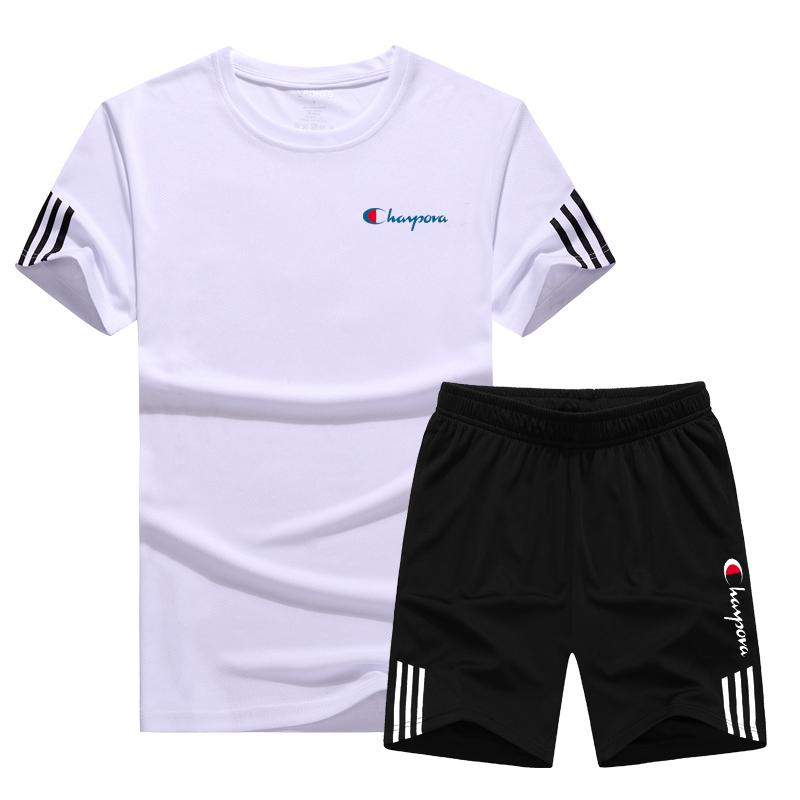 越冠军运动套装男夏季跑步装备短袖T恤宽松冰丝篮球训练健身衣服