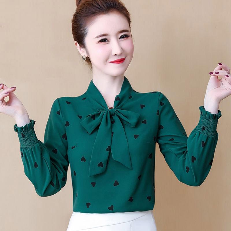 秋季2020新款韩版上衣气质印花雪纺衬衣