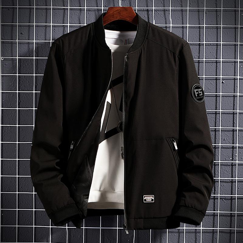 潮流春秋男士夹克外套棒球服韩版修身帅气夹克衫短款立领褂子