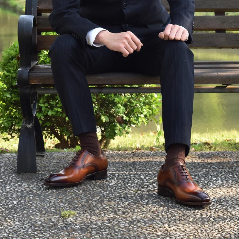 固特异手工定制男鞋棕色皮鞋私人定做商务正装真皮牛津鞋英伦潮