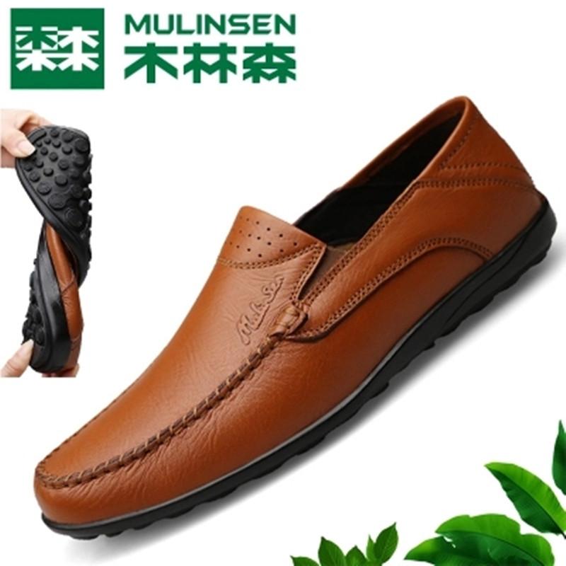 木林森男鞋休闲鞋软底豆豆鞋男夏季透气真皮套脚懒人鞋中年爸爸鞋
