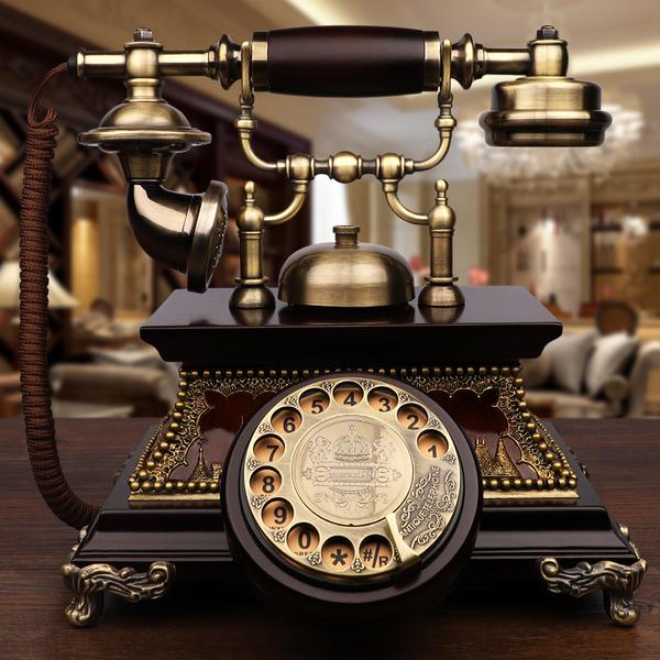 GDIDS仿古电话机欧式复古实木旋转老式客厅家用无线插卡电话...