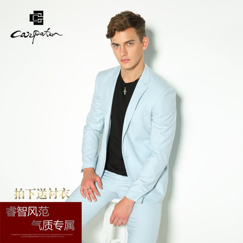 休闲西服套装男 夏季结婚礼服修身薄款韩版浅蓝色西装男套装