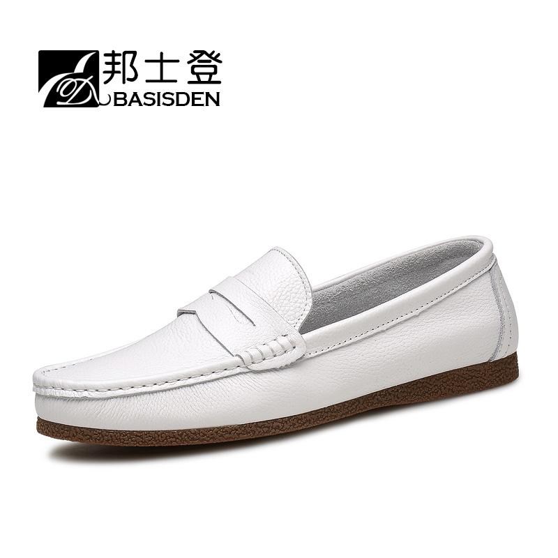韩版白色乐福鞋秋季透气男鞋子英伦一脚蹬懒人鞋真皮小白休闲皮鞋