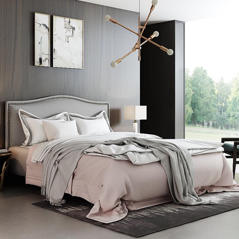 艾依美儿时尚纳维亚简约现代1.5米 1.8米布艺床北欧棉麻双人床