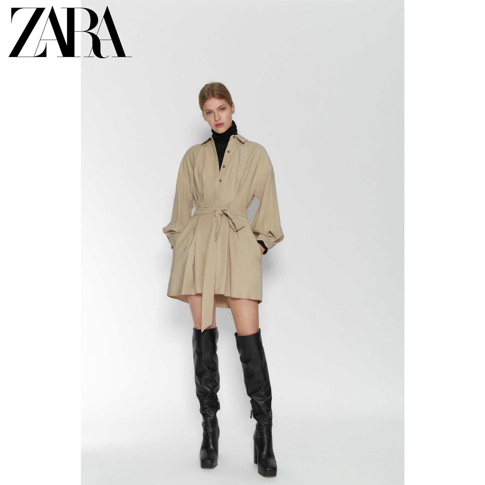 ZARATRF 女装 配腰带衬衣式连衣裙 02184306704