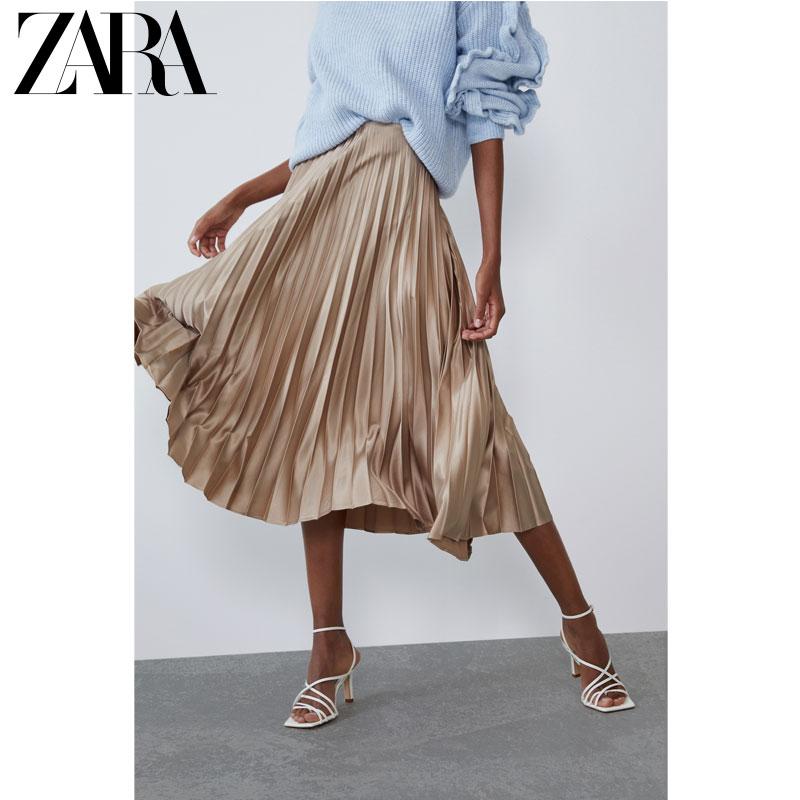 ZARA TRF 女装 丝缎质感百褶裙 03067255706
