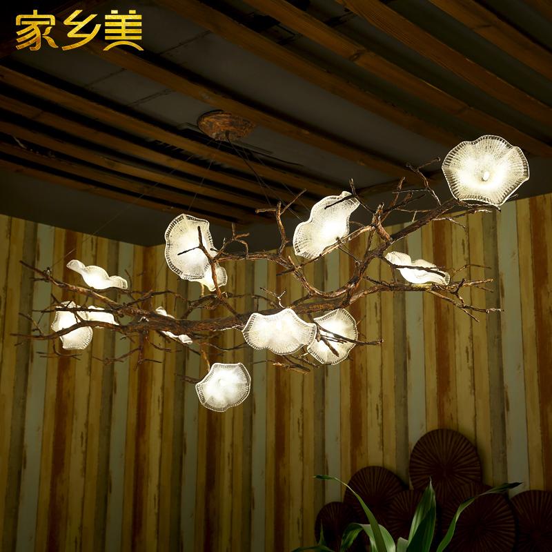 新中式创意树枝吊灯别墅酒店大堂大厅复古客厅餐厅大吊灯复式