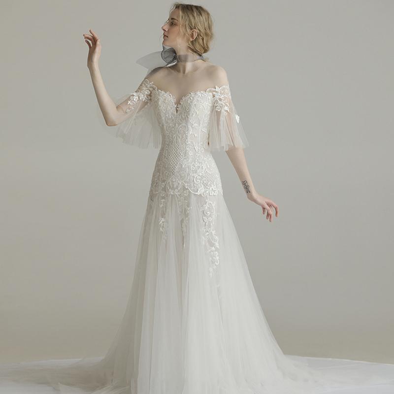 婚纱礼服2018新款新娘一字肩显瘦梦幻公主拖尾长袖森系轻超仙女冬