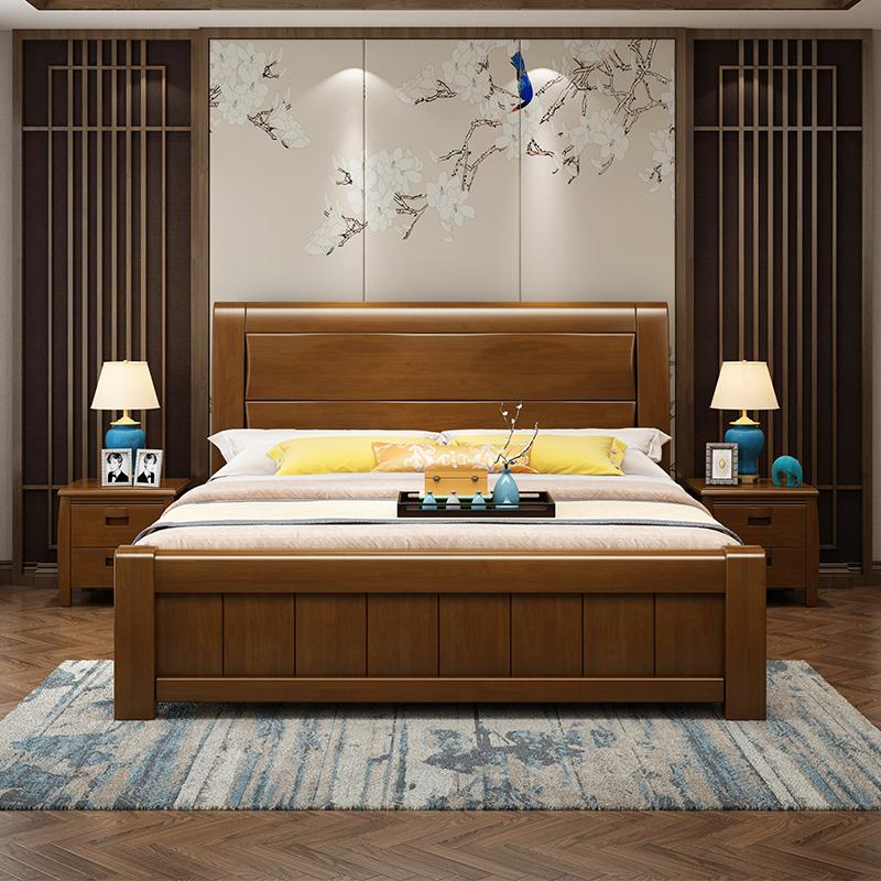 简约现代新中式实木床1.8米主卧储物高箱床1.5M双人婚床卧室家具
