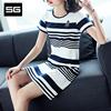干净利落SG2018夏装新款经典条纹连衣裙圆领通勤修身显瘦时尚中裙