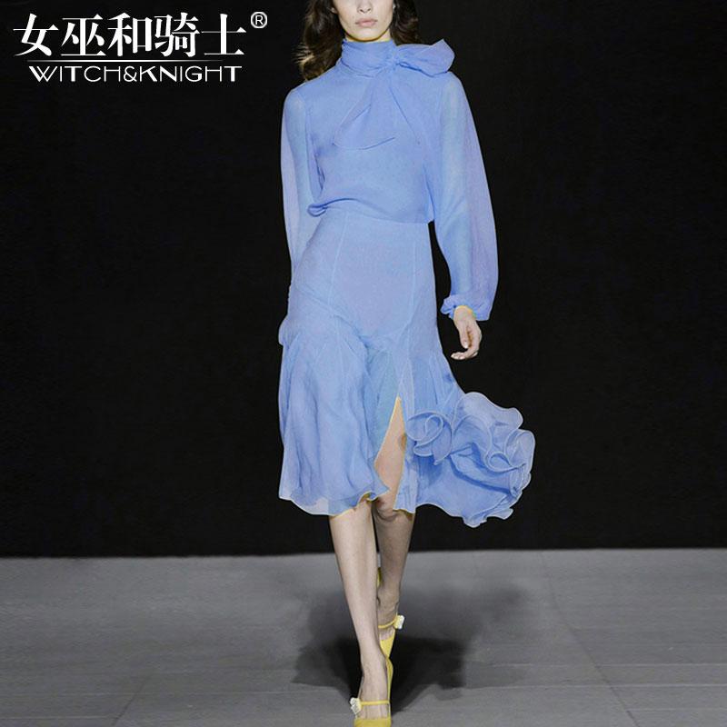 2018春秋新款欧美系带上衣衬衫修身时尚气质半身裙套装洋气两件套