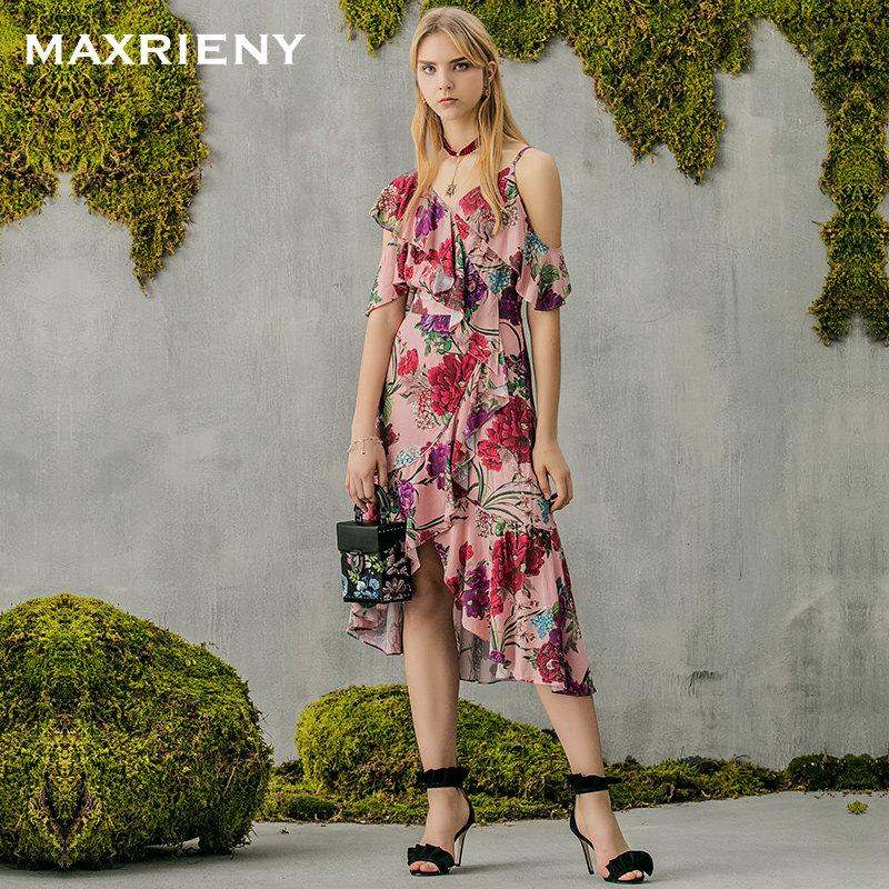MAXRIENY 2018夏季新品露肩吊带连衣裙印花荷叶高腰长裙女