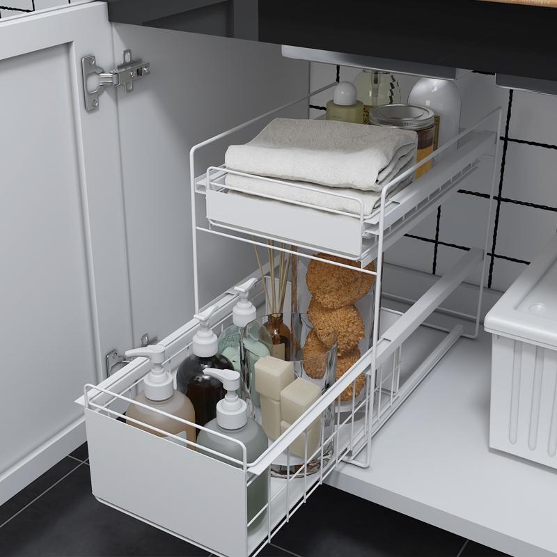 厨房家用水槽下置物架落地橱柜内用品伸缩抽屉式柜子收纳分层架