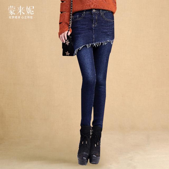 带裙子的打底裤黑色时尚假两件牛仔裤女裙裤chic紧身显瘦小脚长裤
