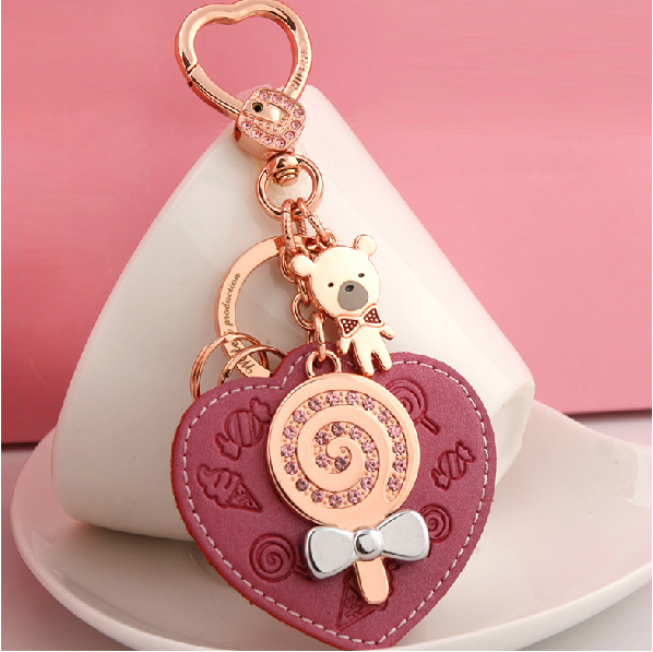 Millers leather keychain female car key chain bag pendant with small jewelry Korea cute creative ring